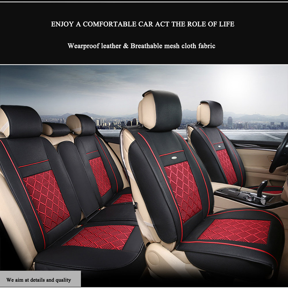 US 5-Seat Car PU Leather+Comfort Mesh Seat Covers Front+Rear Black ...