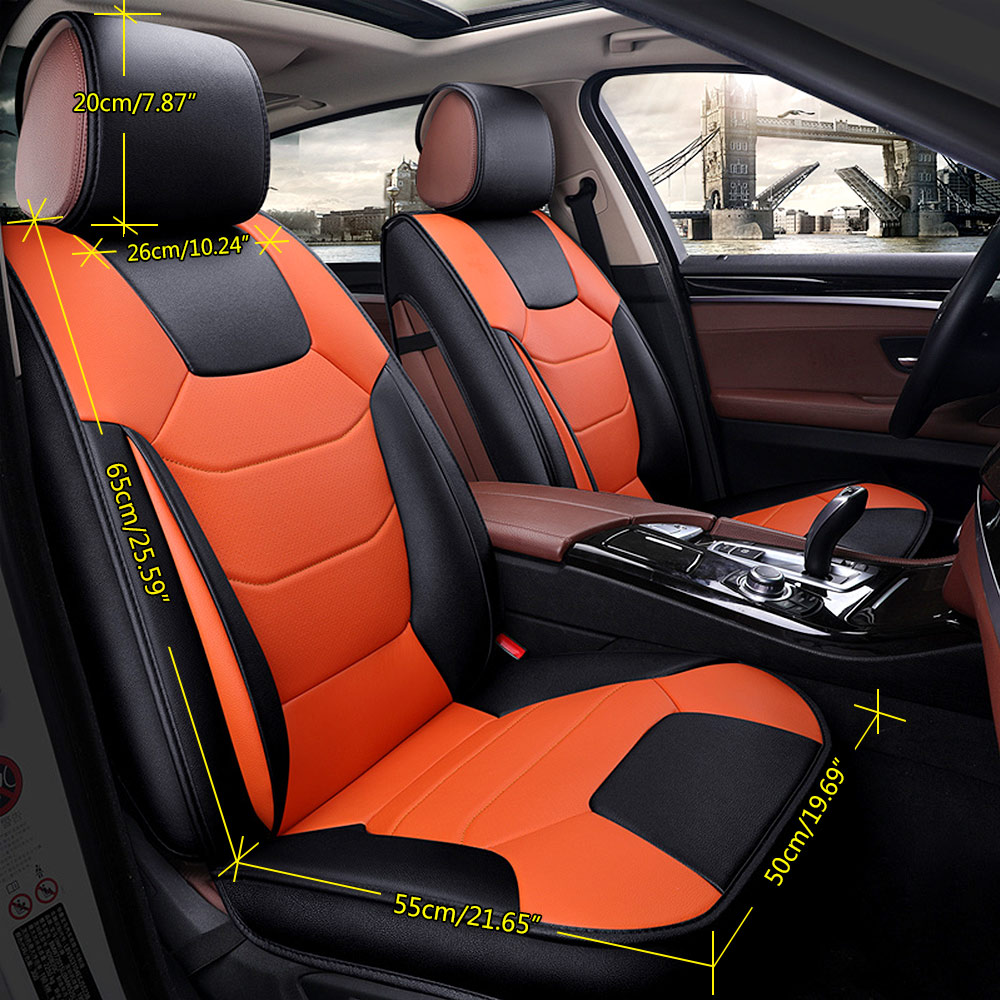 top microfiber leather car seat cover 5 seats front rear cushion size m w pillow 602693001892 ebay. Black Bedroom Furniture Sets. Home Design Ideas