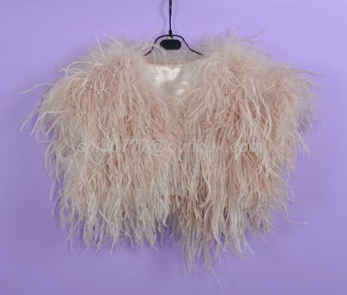100/% Real Ostrich Feather Fur Handmade Shawl Shrug Jacket Vest Wedding bolero