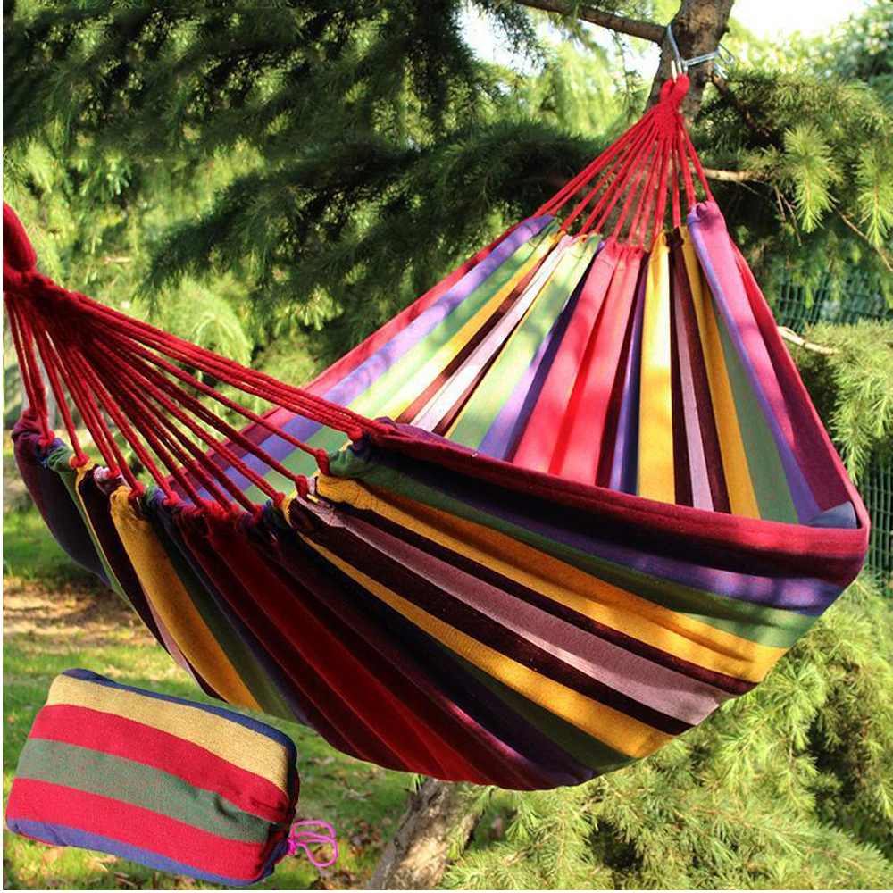One Person Hammock Cotton Rope Outdoor Swing Fabric ...