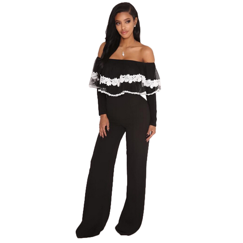 995f1729c3 Details about Womens Casual Long Sleeve Black Jumpsuit Romper Wide Leg  Pants Trousers Clubwear