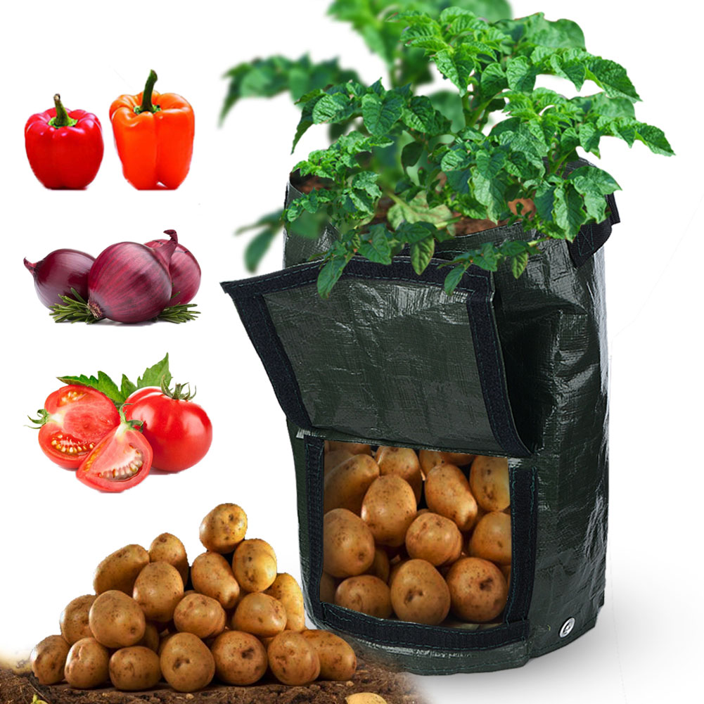Details About 2x 7 10 Gallon Garden Potato Grow Bags With Flap Handles Aeration Pe Fabric Pots