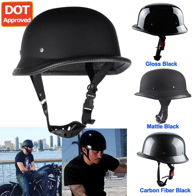 DOT German Half Face Motorcycle Helmet Chopper Cruiser Biker Gloss Black M L XL