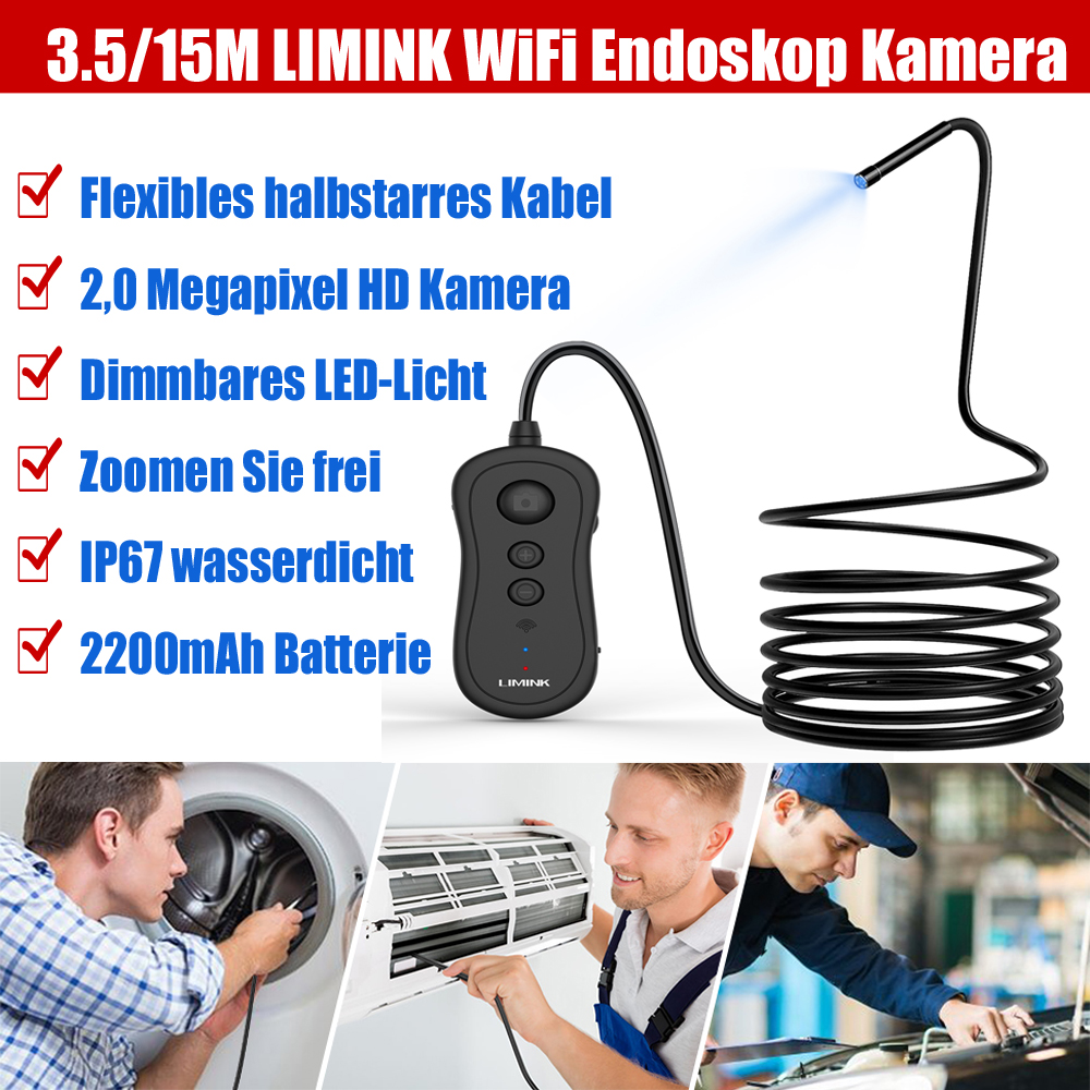 15m Endoskop Wasserdicht Endoscope 6LED Kamera Inspektion Inspektionskamera Neu