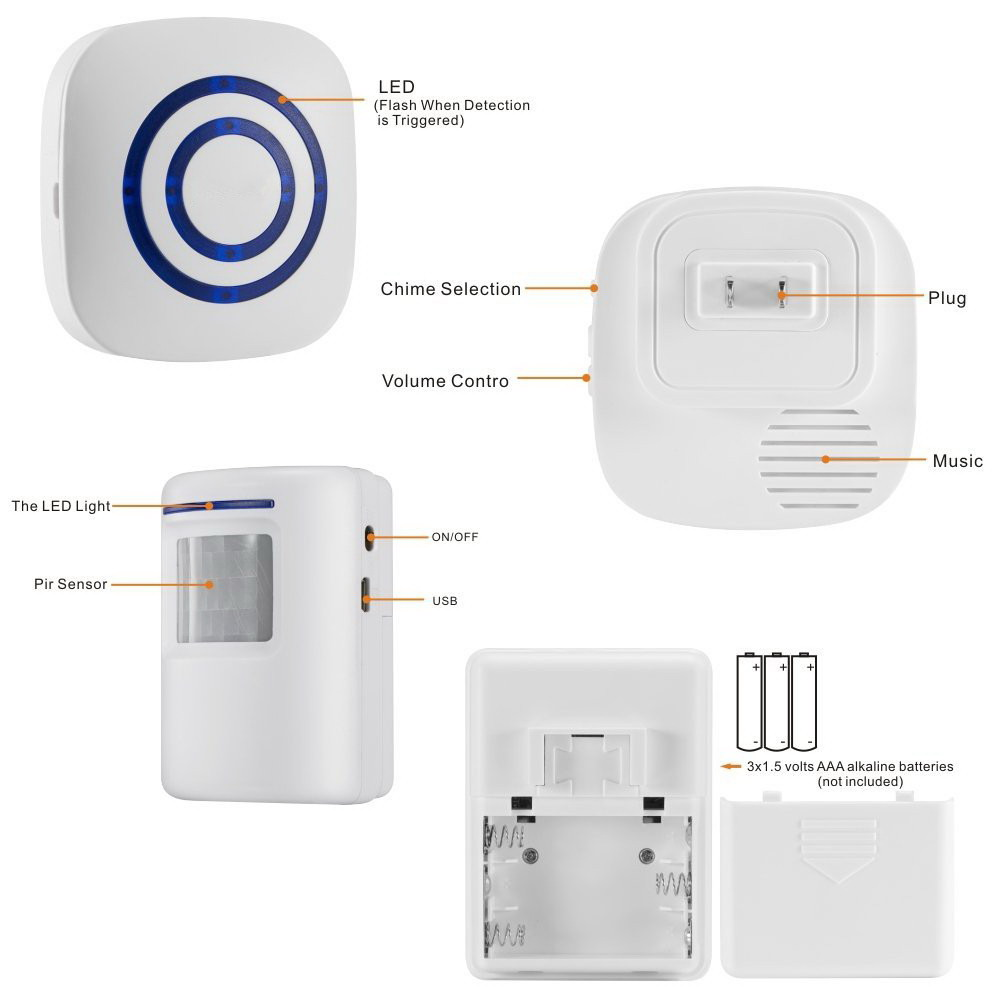 Wireless 38 Chime Pir Motion Sensor Doorbell Led Alarm Security Based Passive Infrared Secuirty System Alert Entrance