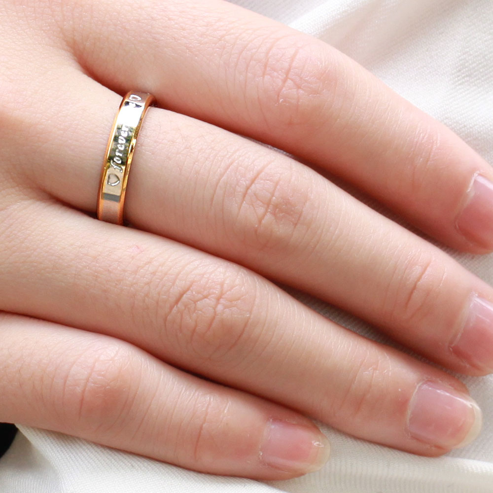 Stainless Steel Heart forever love Couples Promise Engagement Ring ...