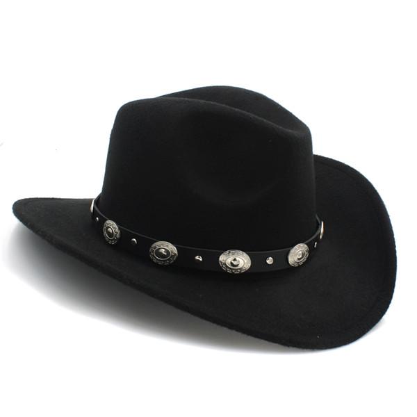 Wool Felt  Womem Men Western Cowboy Hat Wide Brim Punk Leather Belt Jazz  Cap