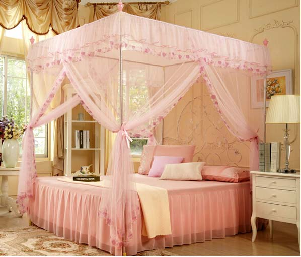 How To Use A Four Poster Bed Canopy To Good Effect: Pink 4 Corners High QC Post Bed Canopy Mosquito Net Twin