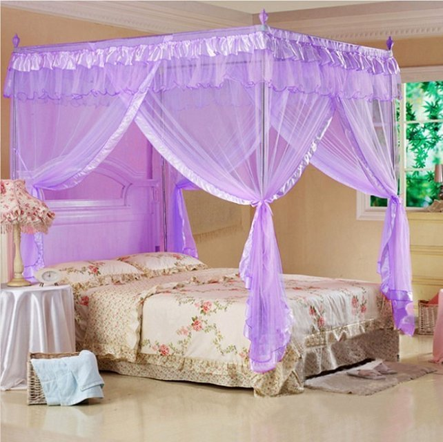 4 Corners Post Bed Curtain Canopy Mosquito Net Twin Xl Full Queen Cal King Size Ebay
