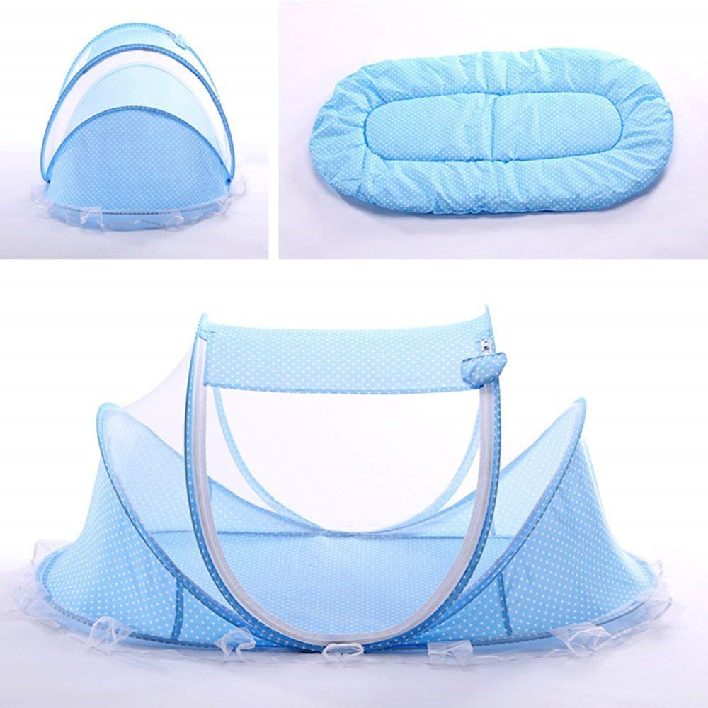 Details About Blue Foldable Infant Baby Mosquito Net Travel Cot Tent Cradle  Bed Pillow  ZH01