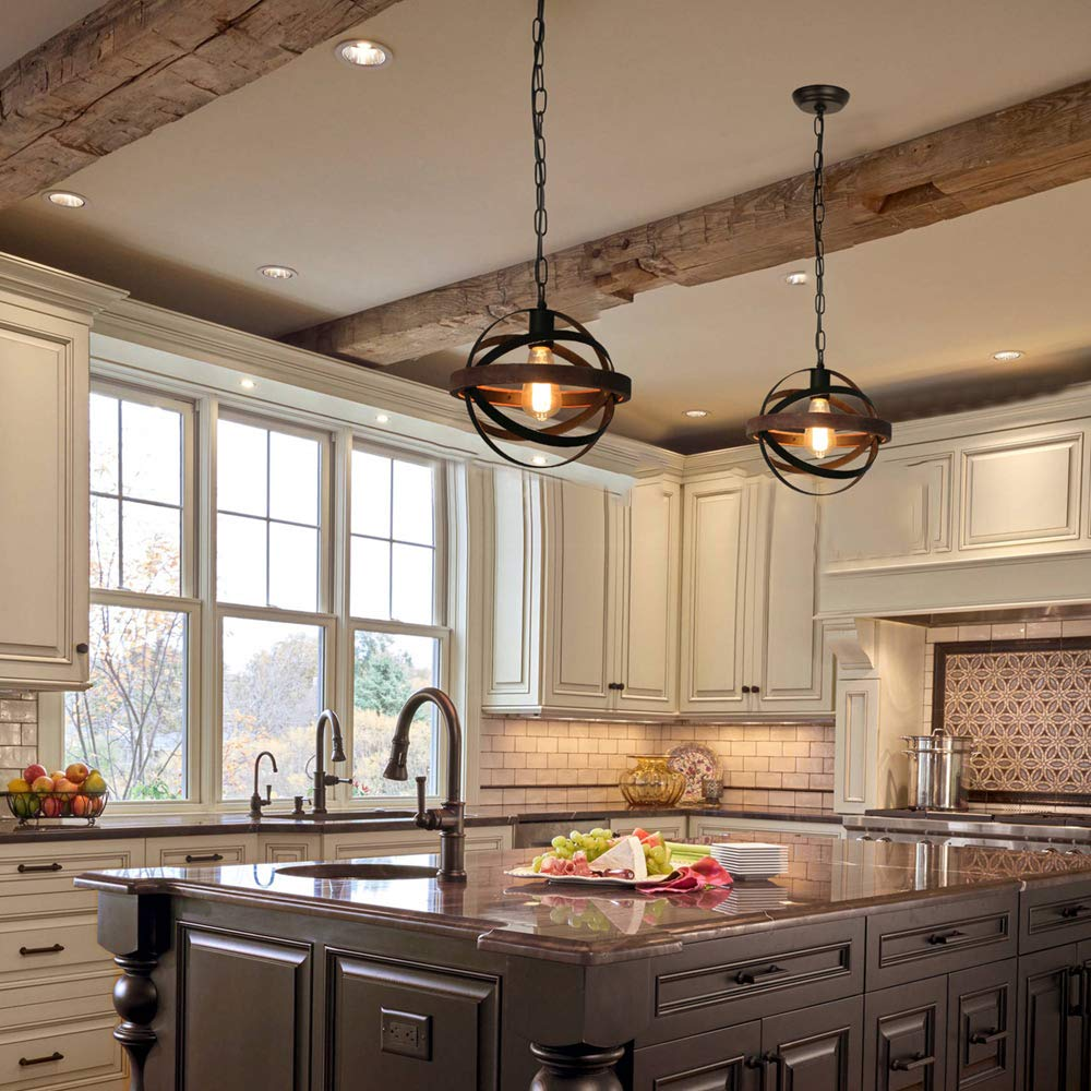 Details about Spherical Displays Changeable Wood Pendant Light Kitchen  Island, Rustic Edison
