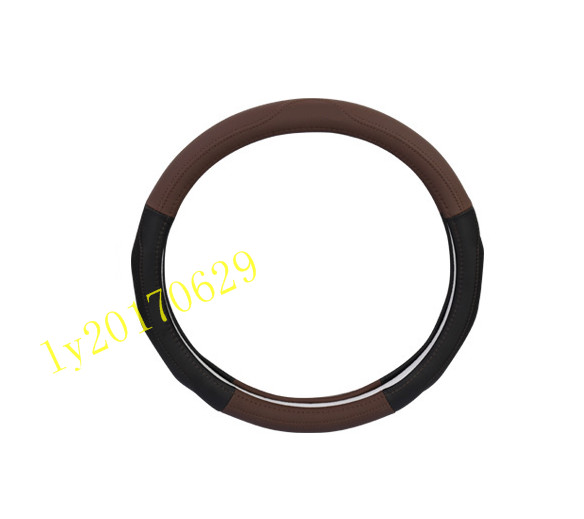 Brown Leather Steering Wheel Cover Breathable Cover Trim