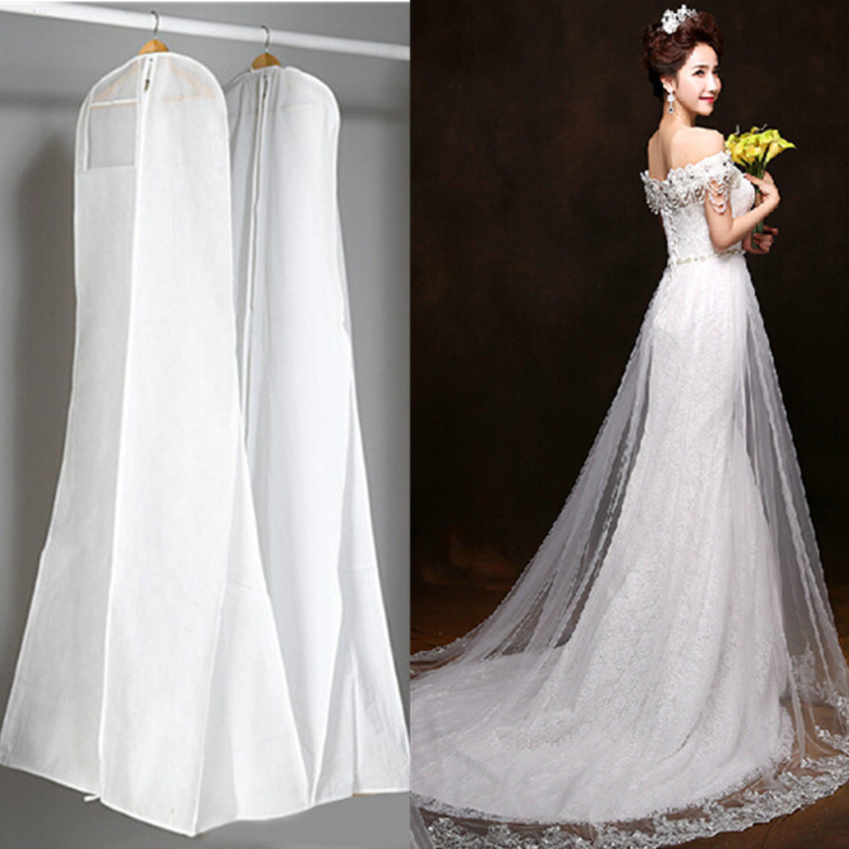 White Extra Large Wedding Dress Bridal Gown Garment Breathable Cover ...