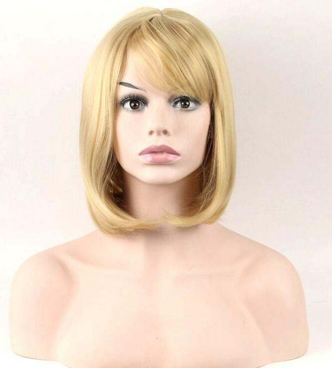 Blonde Womens Wigs Bun Hairstyle Synthetic Full Hair Bob Tilted
