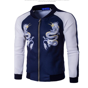 Men's Long Sleeve Jackets Coats Dragon Print Sweatshirt Baseball Tshirt Sweats