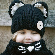 Baby Girls Boy Toddler Kids Winter Fox Hooded Scarf Hat Wool Knitted Crochet 505