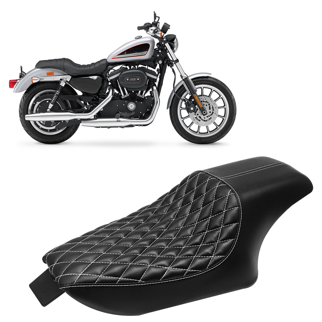 Motorcycle Stitched Two 2-up Front Rear Driver Passenger Seat For Harley Sportster XL1200