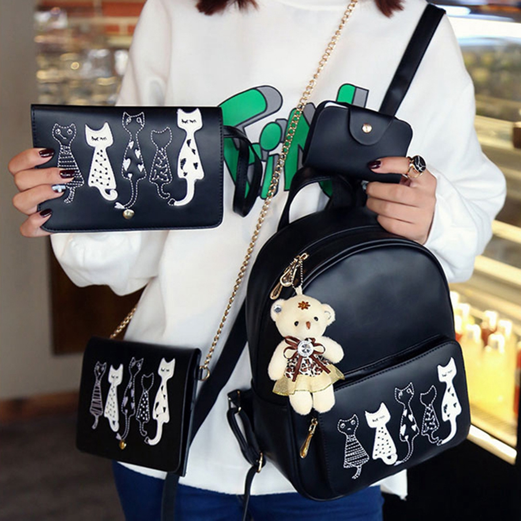 Sweet Womens Girls 4PCS Cat Mini Backpack RuckSack School Crossbody ... 0a61718240116