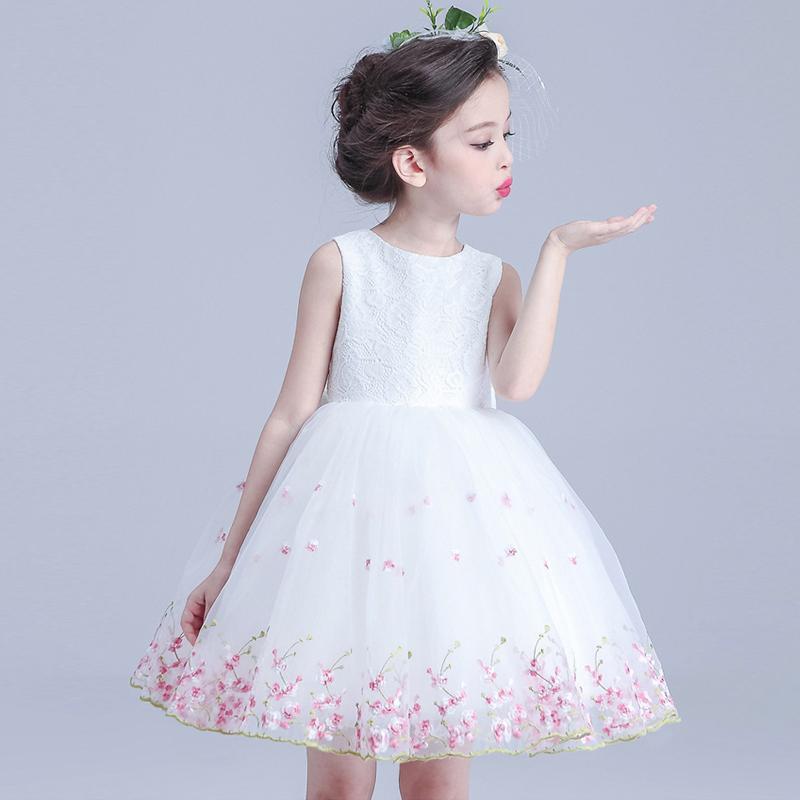 Kids Baby Flower Girls Party Pink Dress Wedding Bridesmaid Dresses Princess UK