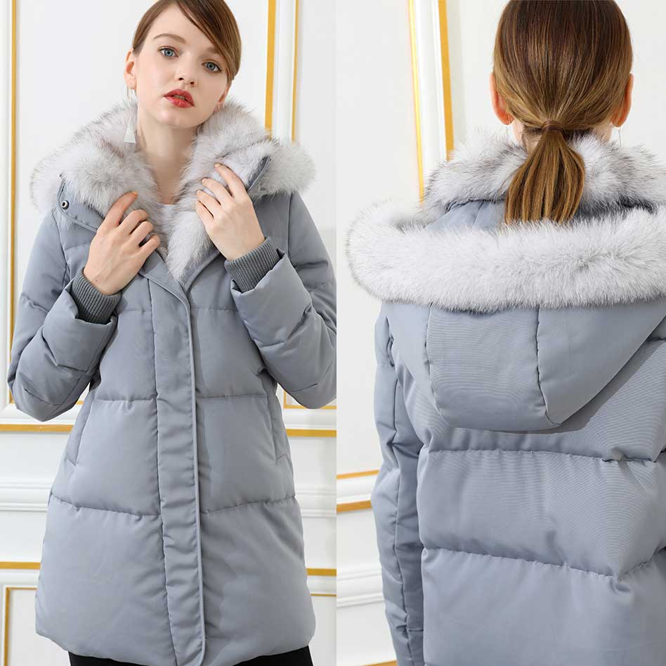 2018 New Womens Down Parka Coat Fox Fur Hood Collar Jacket Fashion ...