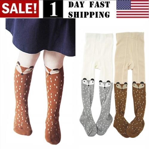 100/% Cotton Baby Kids Girls  Fox Tights Sock Stocking Pants Hosiery Pantyhose hi
