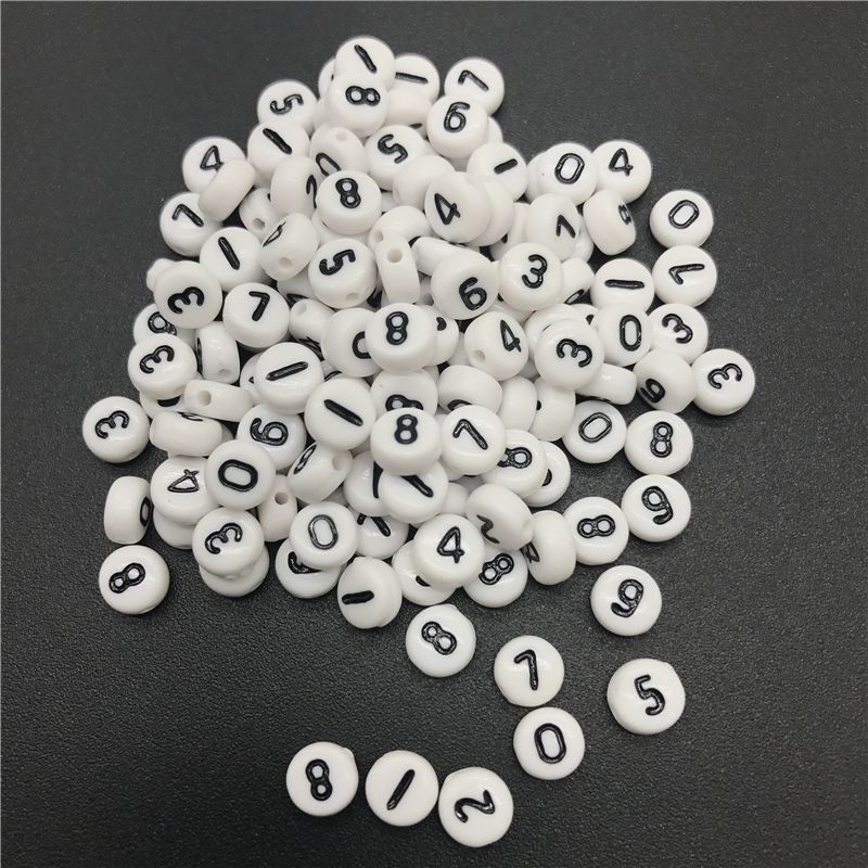 100Pcs 7*7mm Number 0-9 Acrylic Spacer Beads Charms Bracelet Necklace Jewelry