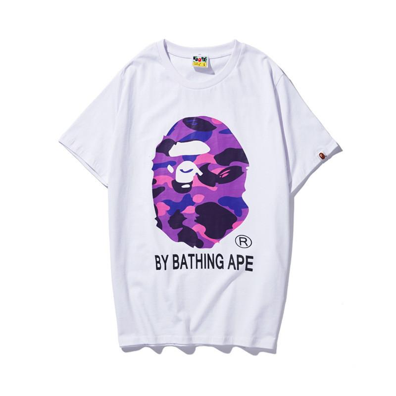 Hot! Bape A Bathing Ape T-shirt Tee Colorful Camo Monkey Head Men Short Sleeve*