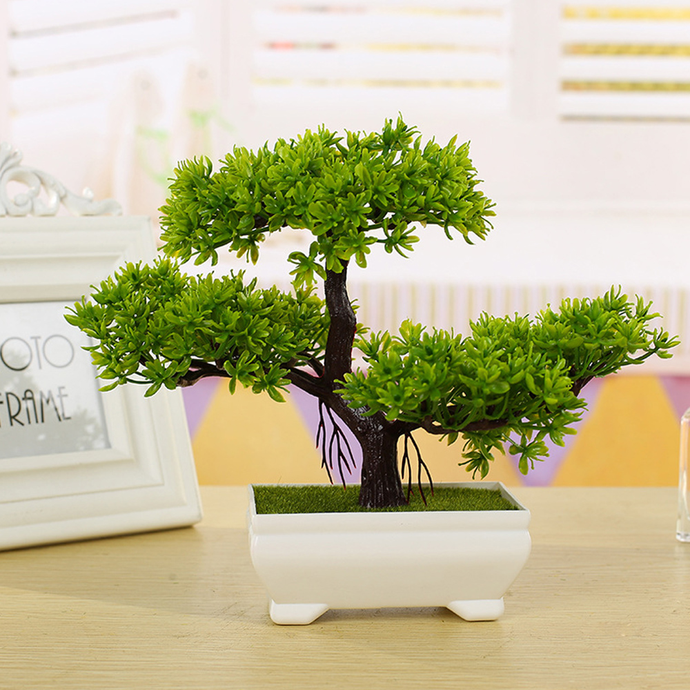 Fake Plants Artificial Greeting Pine Tree Bonsai Home