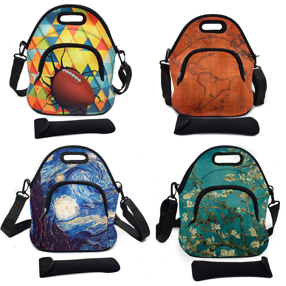 Neoprene Insulated Lunch Bag Large Thermal Storage Box Tote Container With Strap