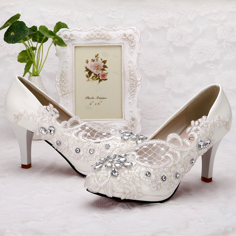 bacb7f78988 Details about Lace white ivory crystal Wedding shoes Bridal flats low high  heel pump size 5-10