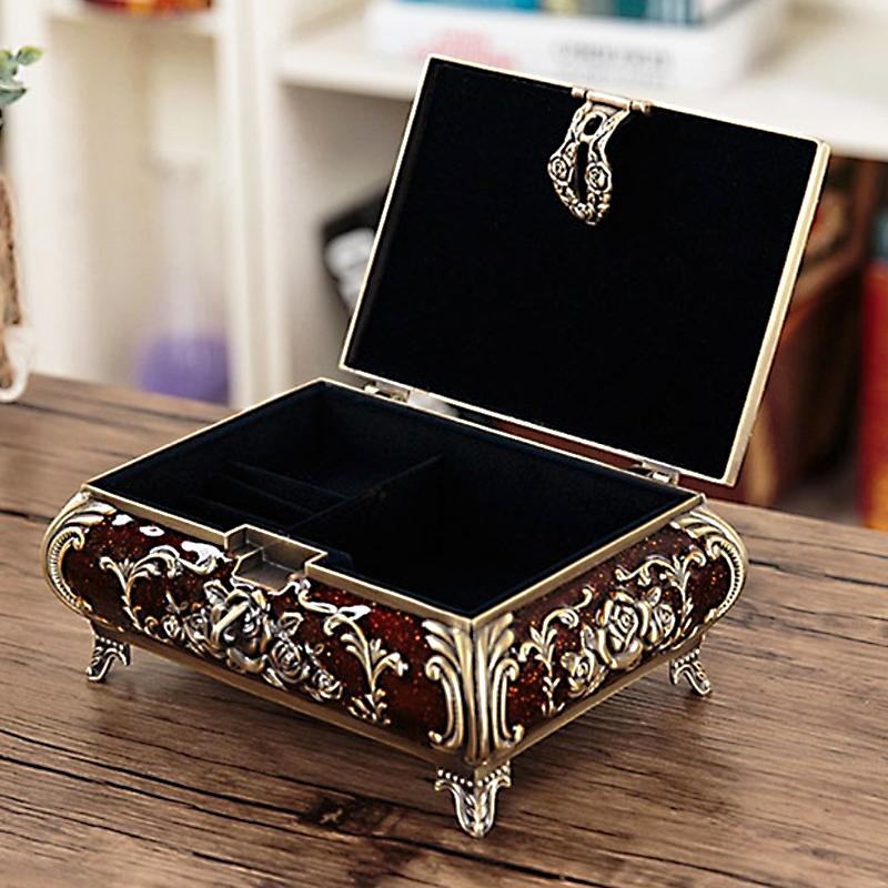 Alloy Retro Vintage Flower Carved Jewelry Box Trinket Case Jewellery Storage New