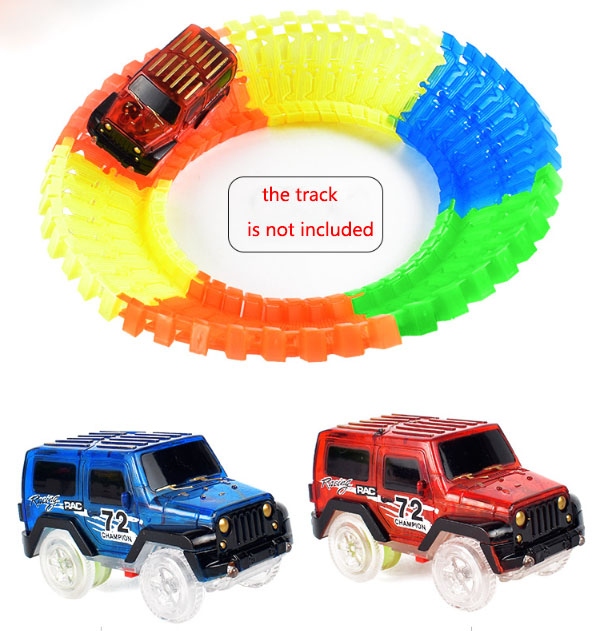2 Cars Glow In The Dark Racetrack Light Up Race Car Toy Amazing For Magic Track