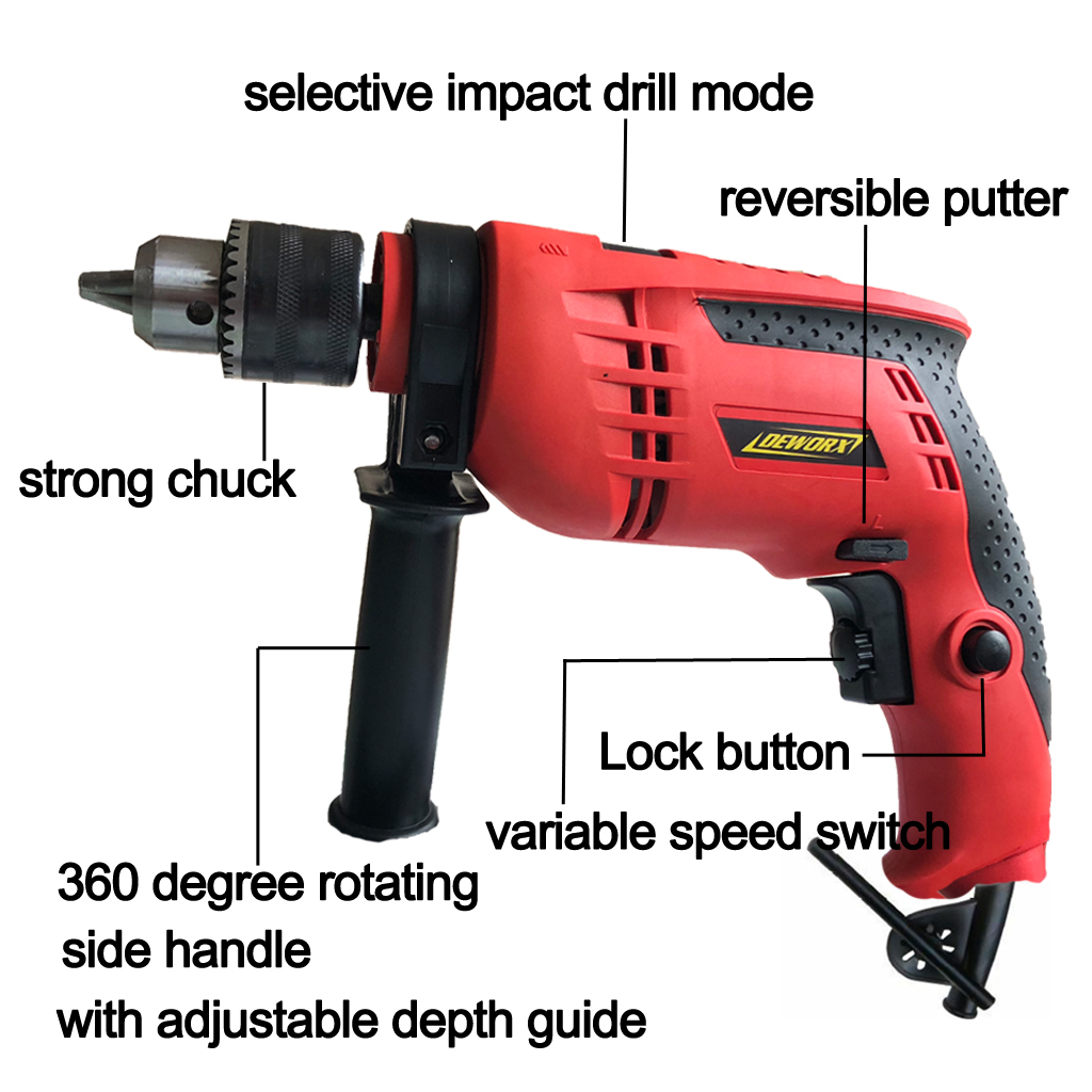Corded Electric Hammer Impact Drill Driver Kit Auxiliary Handle