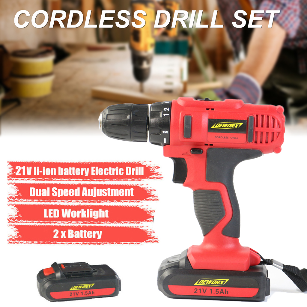 Details About 21v Cordless Electric Drill Driver Double Li Ion Battery Lightweight