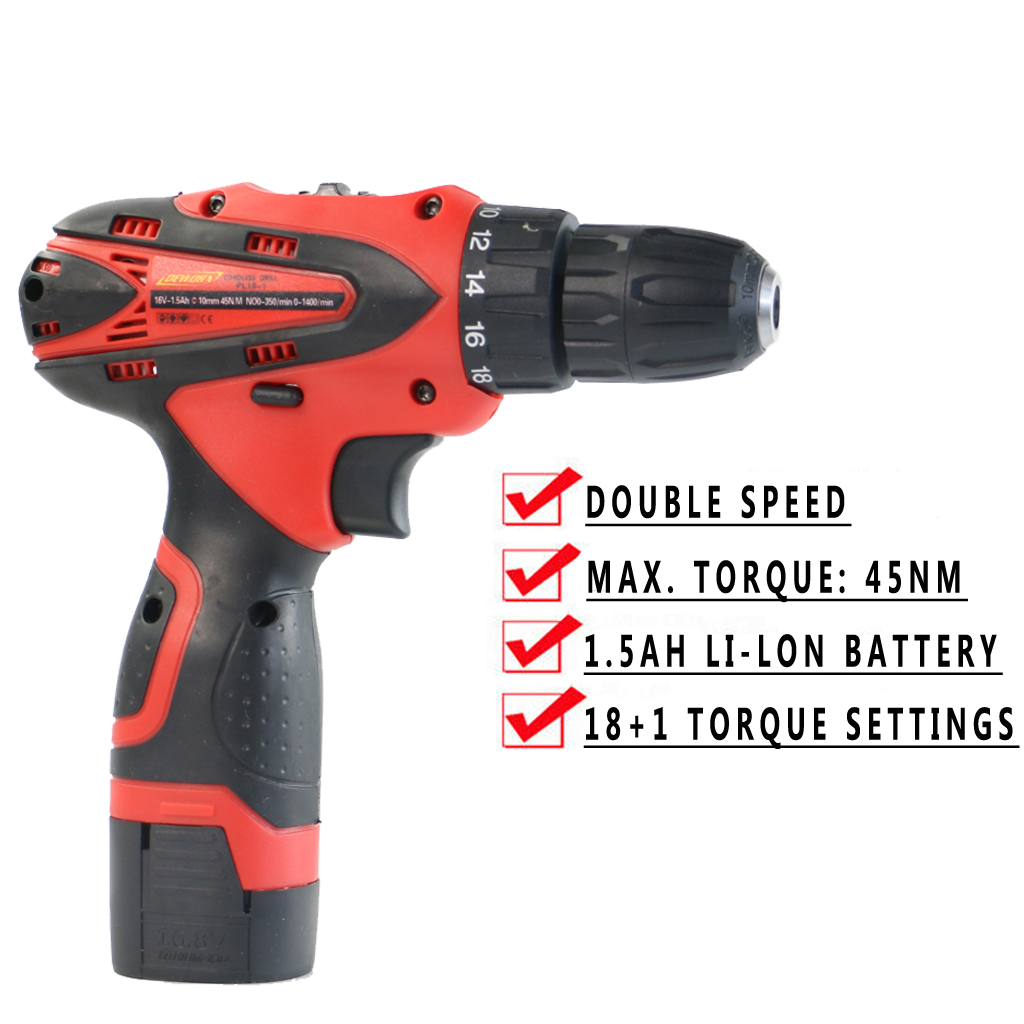21V Cordless Drill Electric Screwdriver Home Office Combi Drill Li-ion Battery