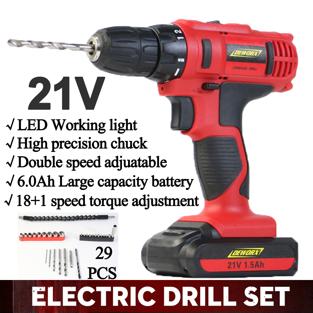 Details About Heavy Duty Lithium Ion Cordless Drill Impact Driver Fast Charge 29pcs Tool Kit