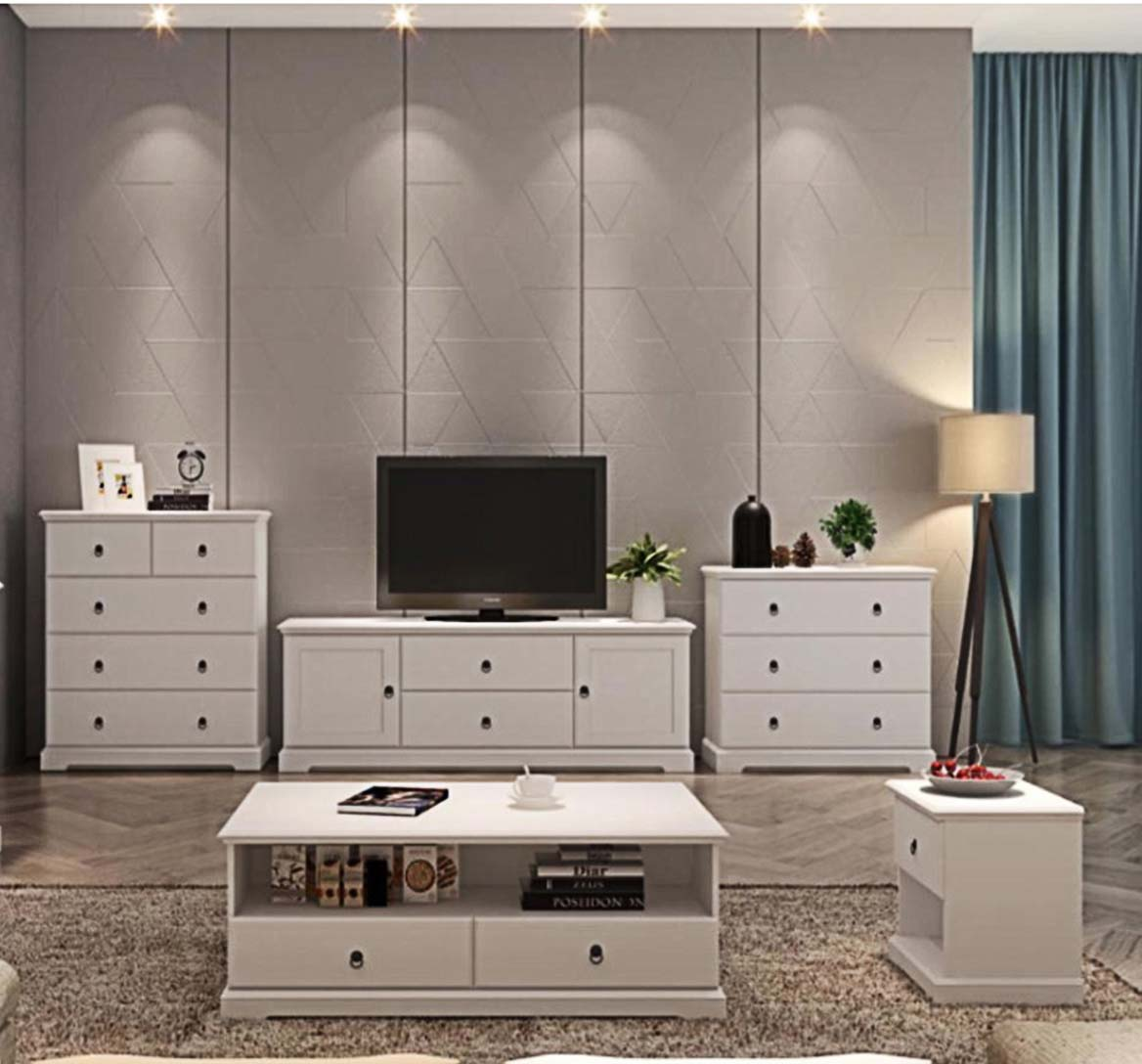 stylehome wohnzimmer m bel anbauwand wohnzimmer set 5 teilig landhausstil wei ebay. Black Bedroom Furniture Sets. Home Design Ideas