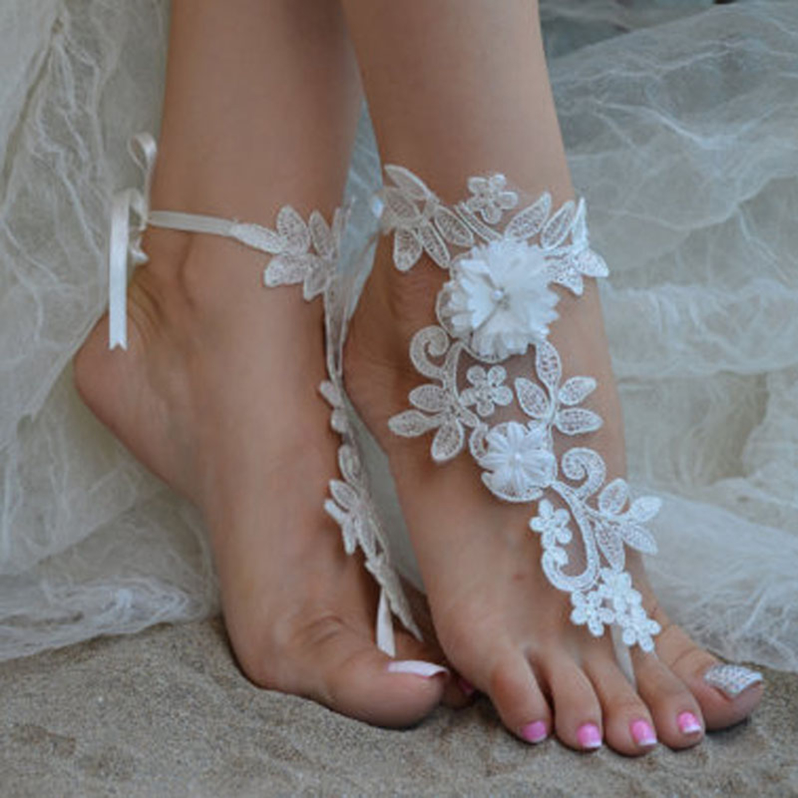 85403bfd7bfc70 White Ivory Lace Beach Shoes Wedding Bridal Anklets Barefoot Sandals Foot  Chain