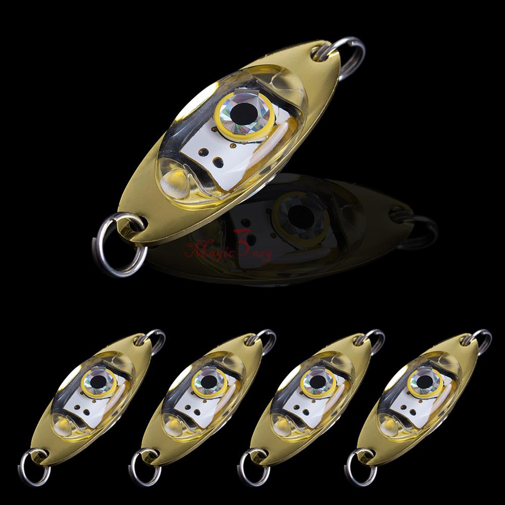 5pcs LED Deep Drop Underwater Fishing Squid Lure Light Flashing Lamp Eye Shape