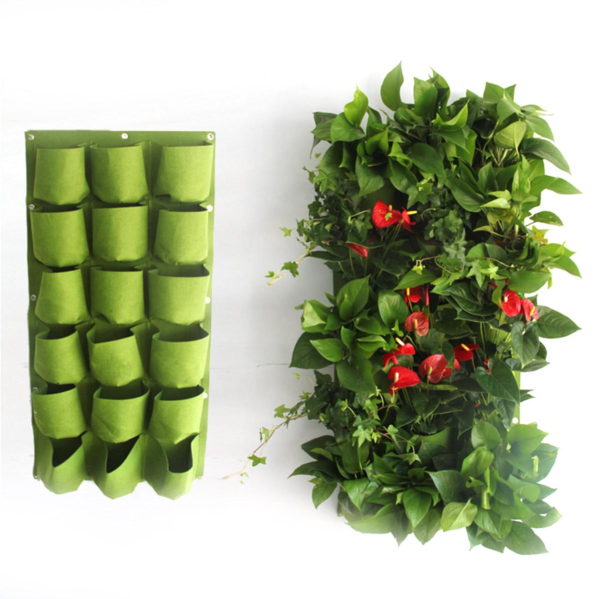 Indoor Vertical Garden Wall Planter Hanging Flower Pouch Pot For