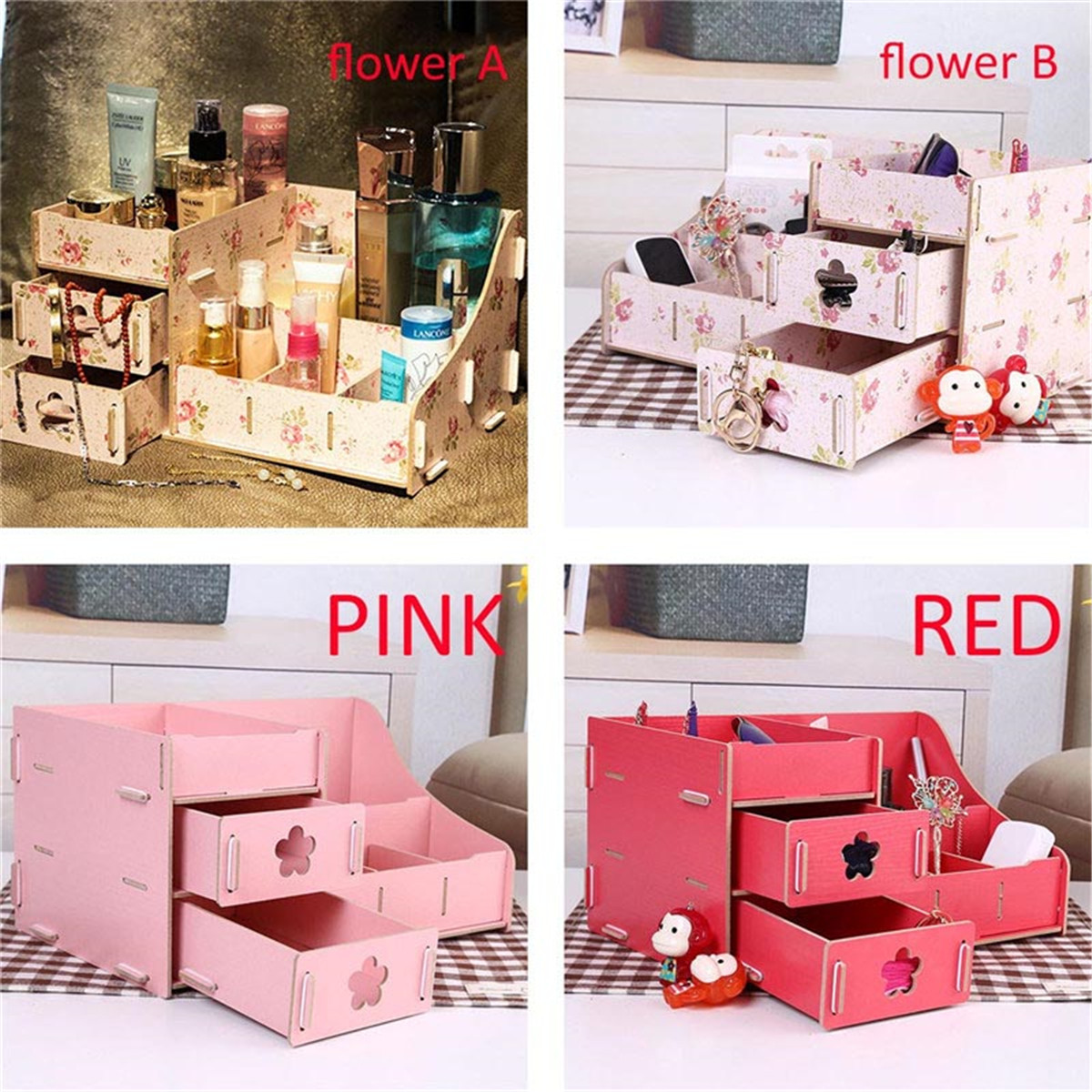 Image Is Loading Wooden Diy Storage Box Makeup Cosmetic Organizer Jewelry