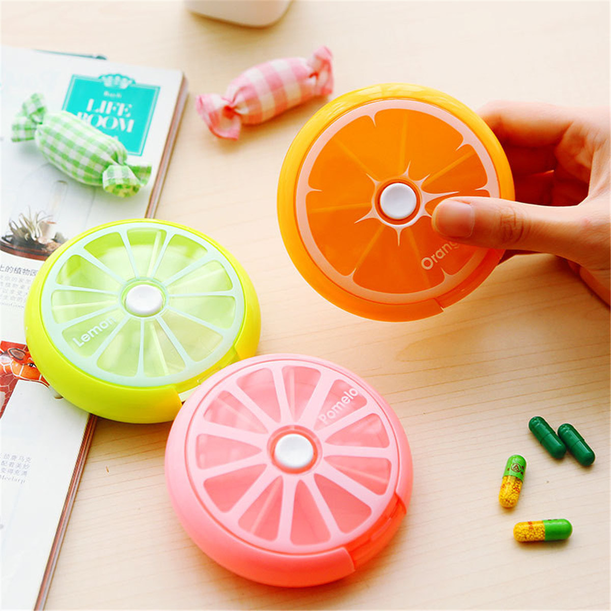 Medicine Box Container Storage Weekly Rotating Pills Box Travel Case Splitter