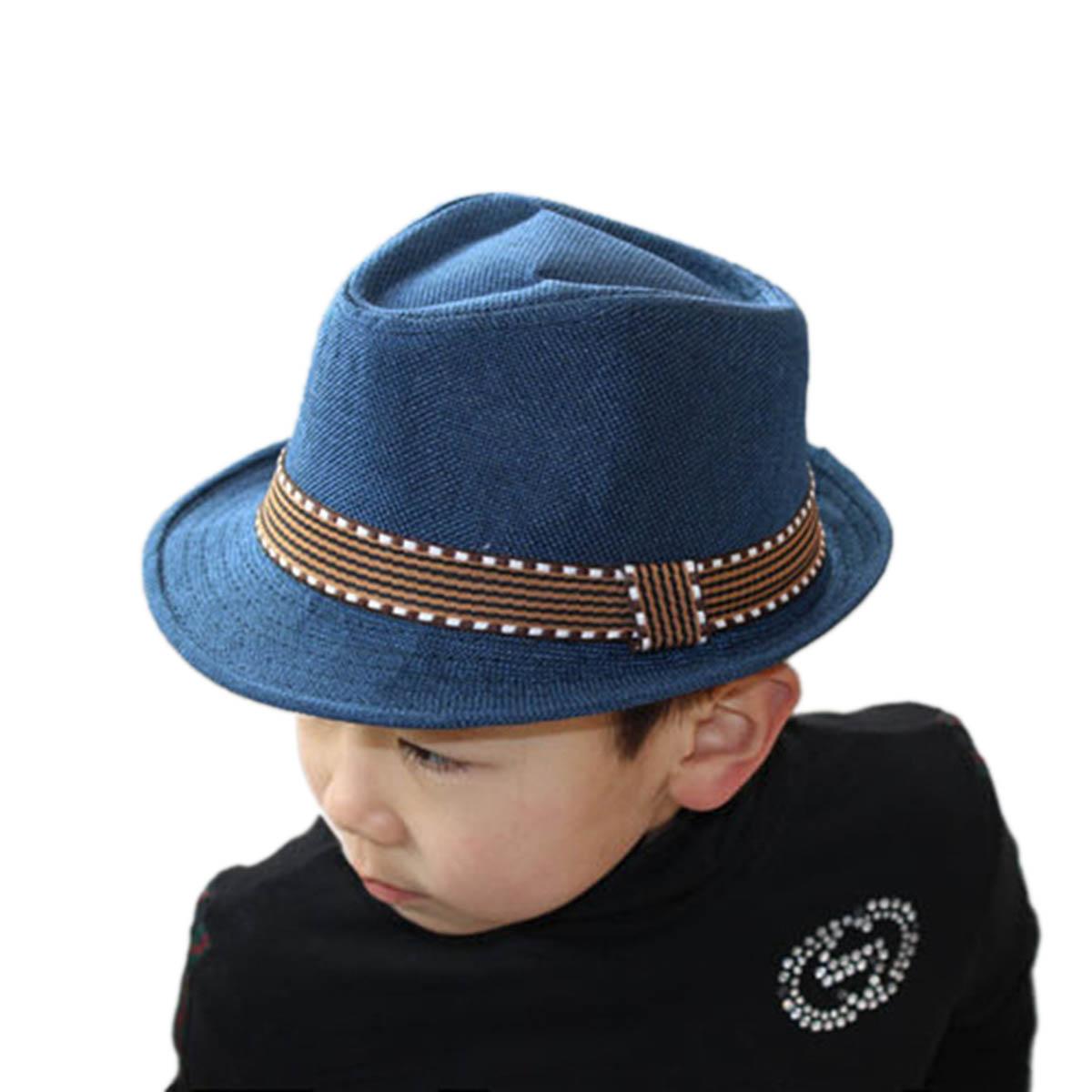 43a02aca0 Details about Baby Boys Cool Hat Beach Sun Straw Cap Toddler Infant Kids  Jazz Cap Dance Caps