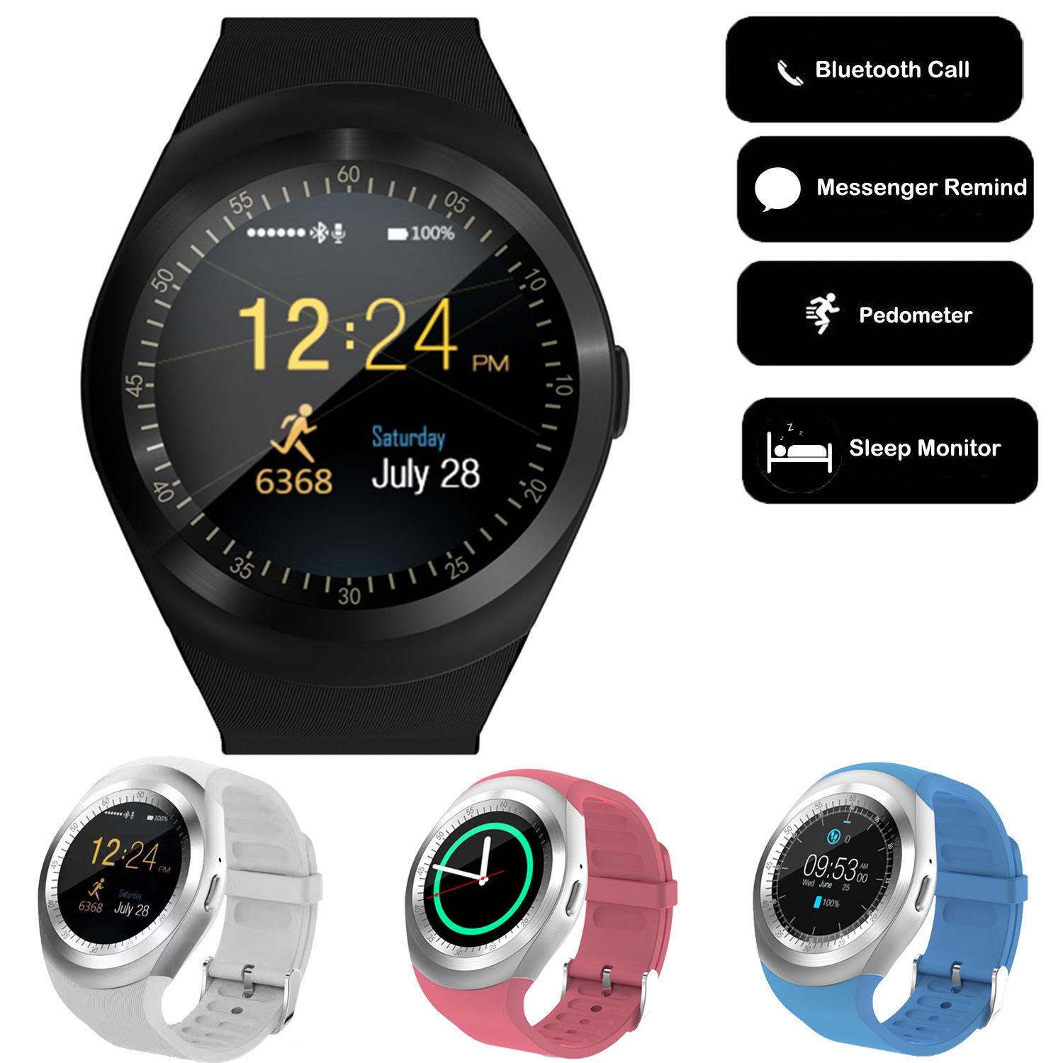 Details about Y1 Bluetooth Smart Watch Pedometer SIM Card Wristband for  Android IOS Phone FL