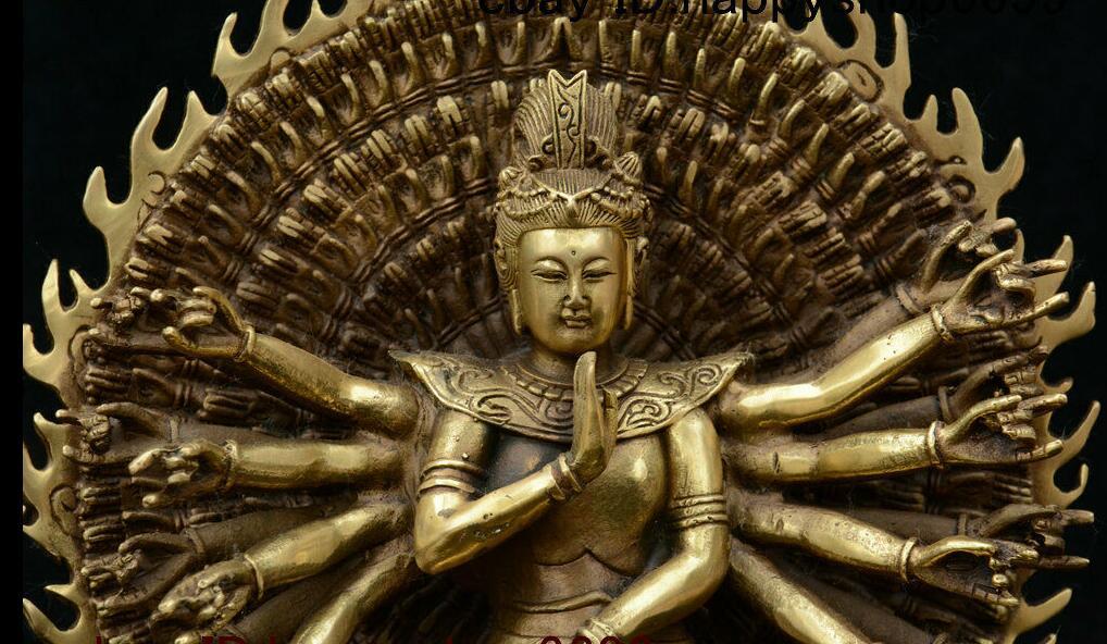 China Tibet Buddhism Brass 1000 Arms Kwan-Yin Avalokiteshvara Of Goddess Statue