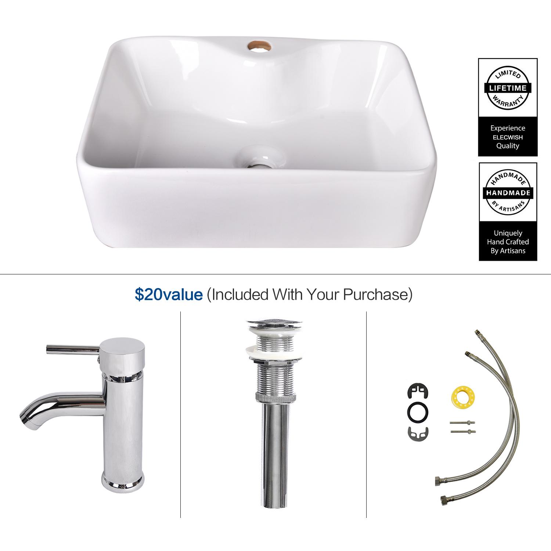 Rectangle Bathroom Sink Porcelain Ceramic Vessel Vanity
