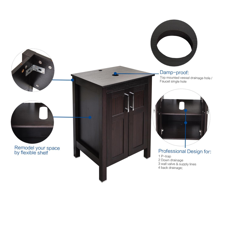24\'\' Black Bathroom Vanity Single Cabinet Vessel Ceramic Sink Faucet ...