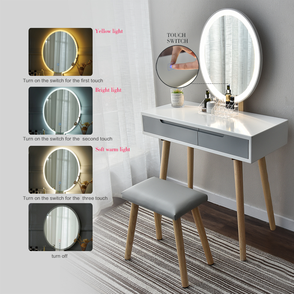 Dressing Table Amp Stool Set Makeup Vanity Led Mirror