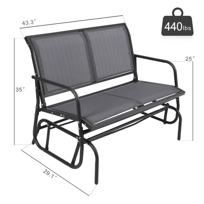 Excellent Details About Heavy Duty Patio Double Glider Swing Bench Chair Porch Rocker Garden Loveseat Machost Co Dining Chair Design Ideas Machostcouk