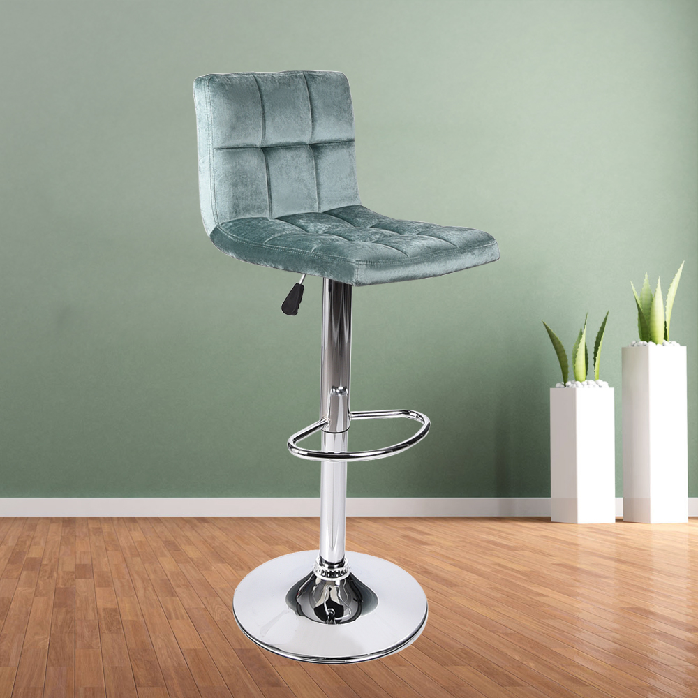 Set Of 4 Bar Stool Velvet Fabric Pub Chair Swivel Adjustable Seat ...